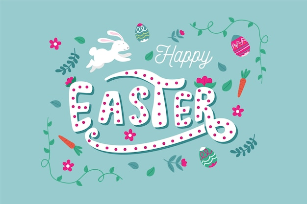Hand drawn easter with flowers and leaves Free Vector