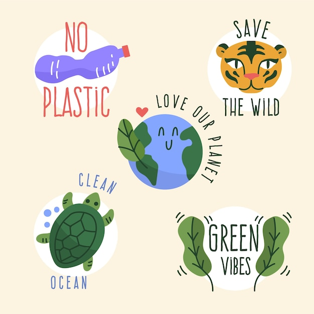 Hand-drawn of ecology badge collection Free Vector