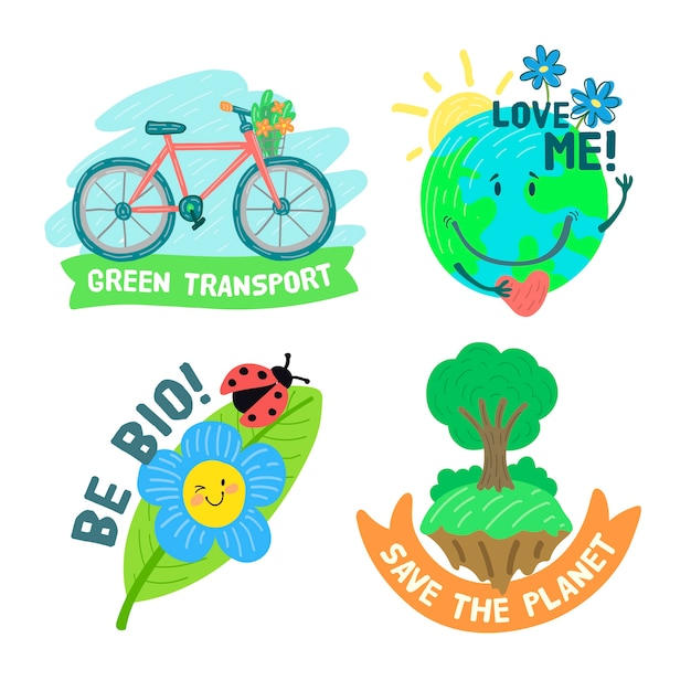 Hand-drawn ecology badge collection Free Vector