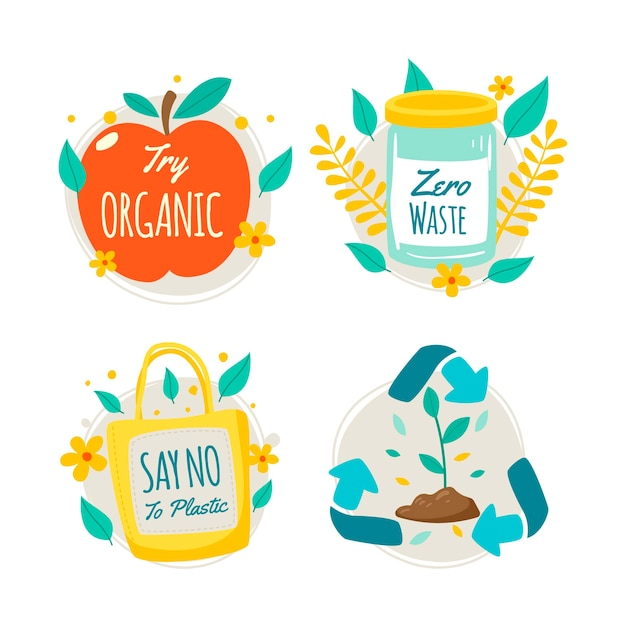 Hand-drawn ecology badge style Free Vector