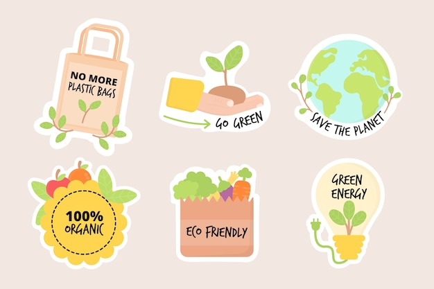 Hand-drawn ecology badges collection Free Vector