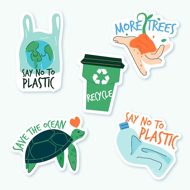 Hand drawn ecology badges concept Free Vector