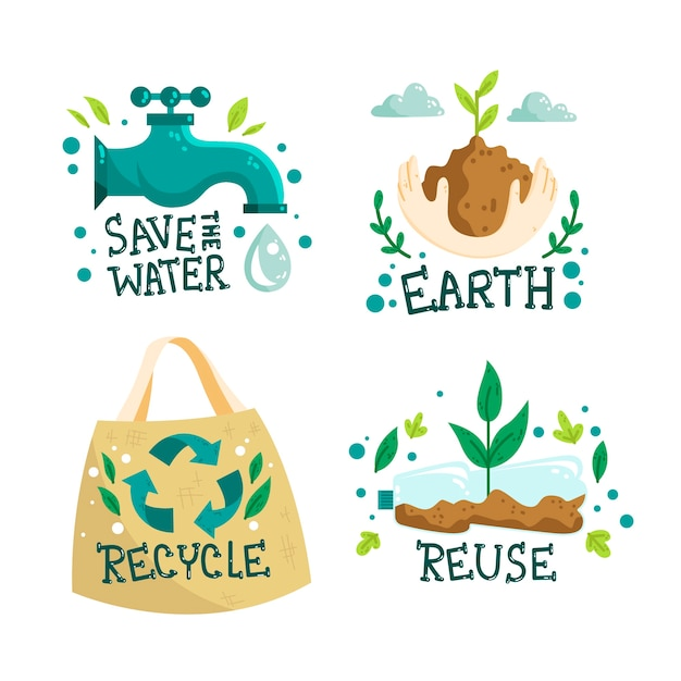 Hand-drawn ecology badges design Free Vector