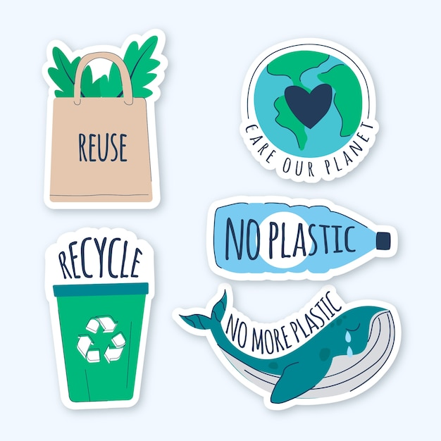 Hand drawn ecology badges illustration Premium Vector