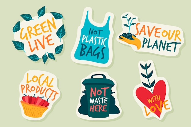 Hand drawn ecology badges and stickers Free Vector