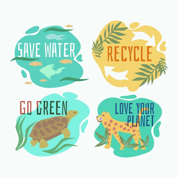 Hand drawn ecology badges with animals Free Vector