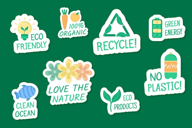 Hand drawn ecology badges Free Vector