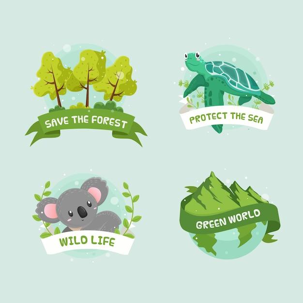 Distintivi di ecologia disegnati a mano Vettore gratuito
