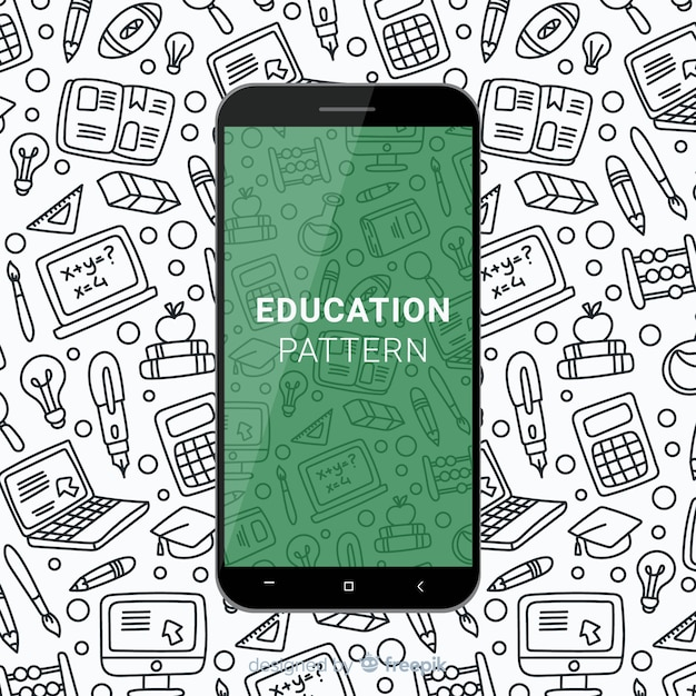Hand drawn education mobile pattern Free Vector