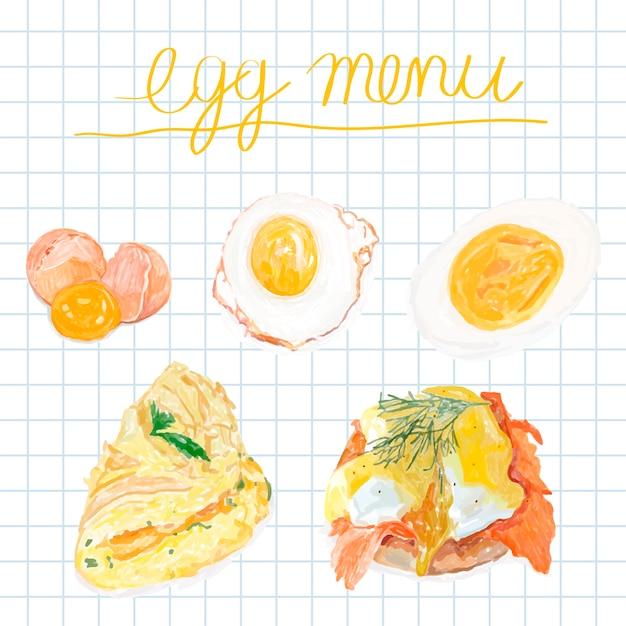Hand drawn egg menu watercolor style Free Vector