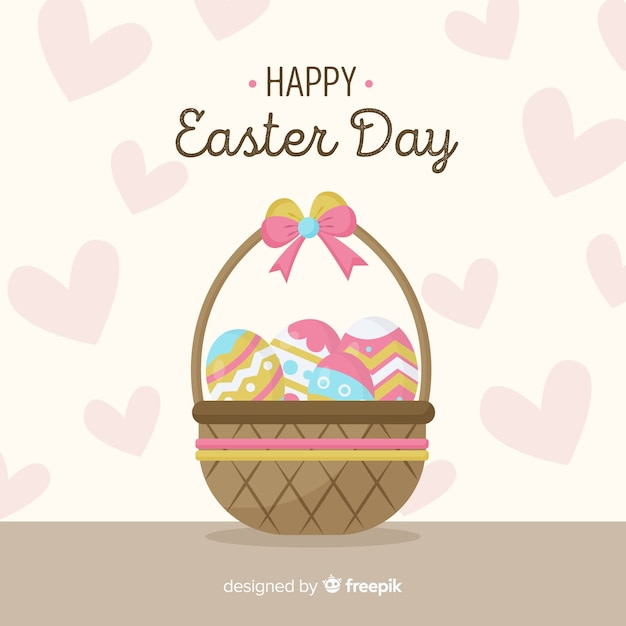 Hand drawn eggs basket easter background Free Vector