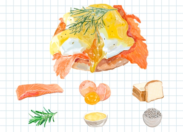 Hand drawn eggs benedict watercolor style Free Vector