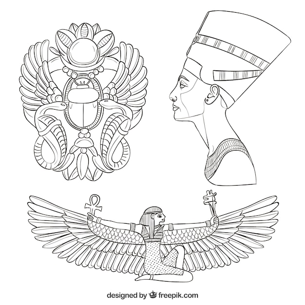 Hand drawn egypt culture elements Free Vector