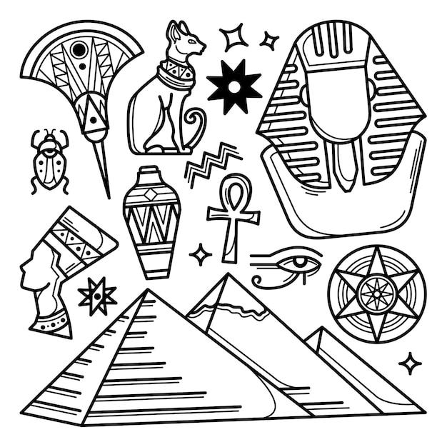 Набор рисованной египет каракули Premium векторы