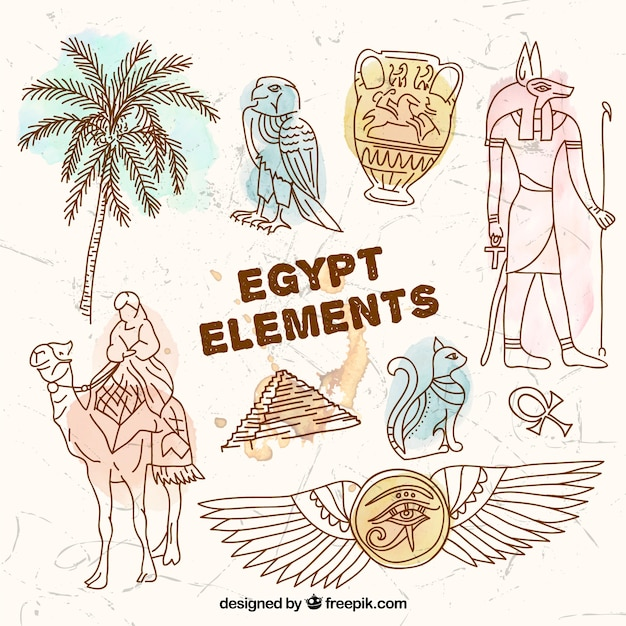 Hand drawn egypt elements Free Vector