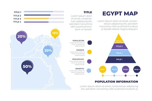 Нарисованная рукой карта египта инфографики Бесплатные векторы