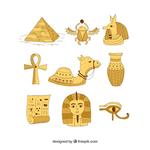 Hand drawn egypt symbols and gods\ collection