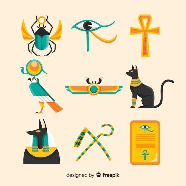 Hand drawn egypt symbols and gods Free Vector
