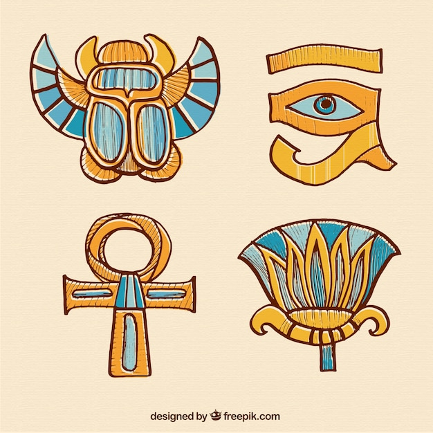hand drawn egyptian ornaments vector free download