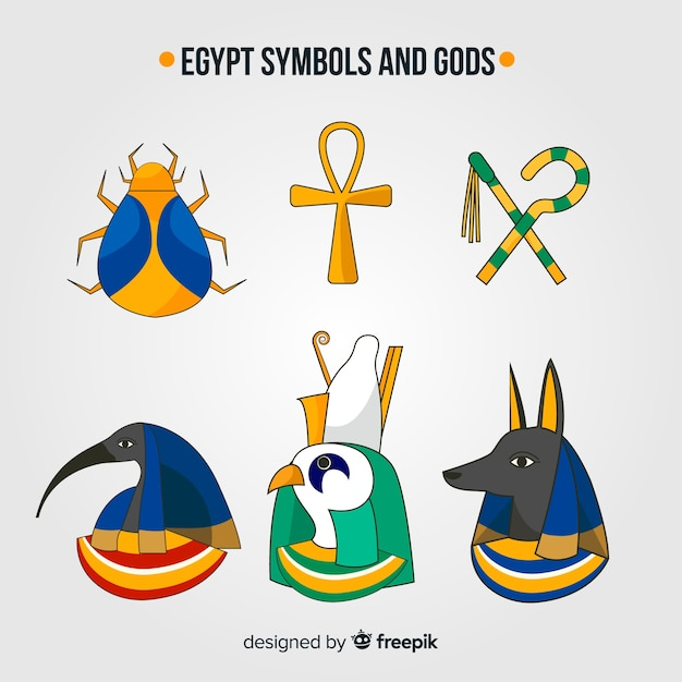 Hand Drawn Egyptian Symbols And Gods Collection Vector Free Download
