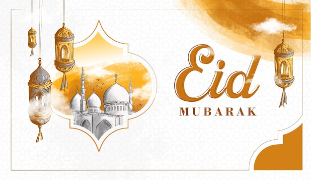Hand drawn eid mubarak illustration Free Vector