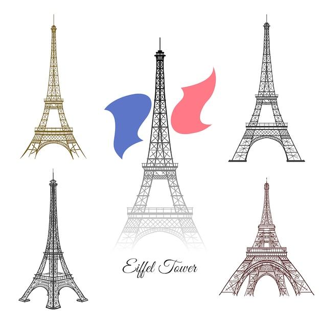 손으로 그린 파리 벡터에서 에펠 탑. 파리 프랑스 관광, 타워 건축, 랜드 마크 에펠 탑 기념물 그림 무료 벡터