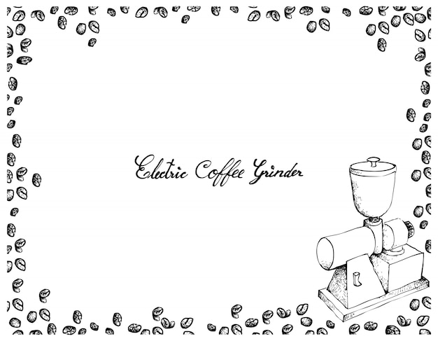 Hand drawn of electric coffee grinder with coffee beans Premium Vector
