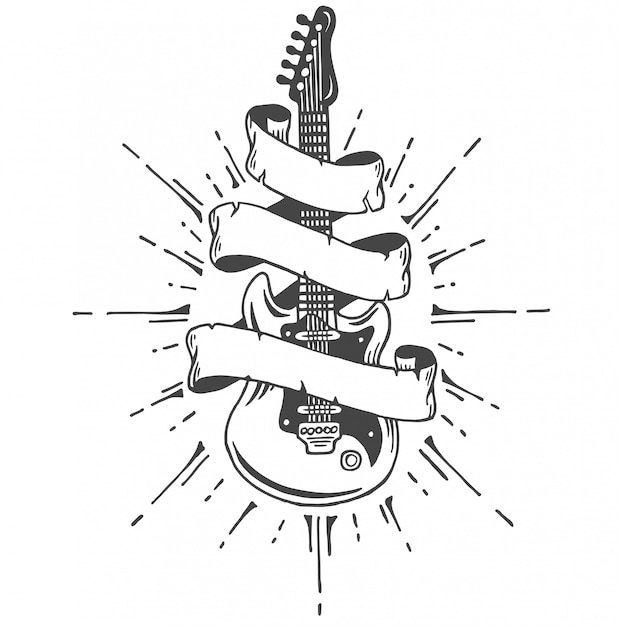 Hand drawn electric guitar with ribbon and text. heavy metal style. Free Vector