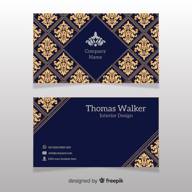 Hand drawn elegant business card template Free Vector