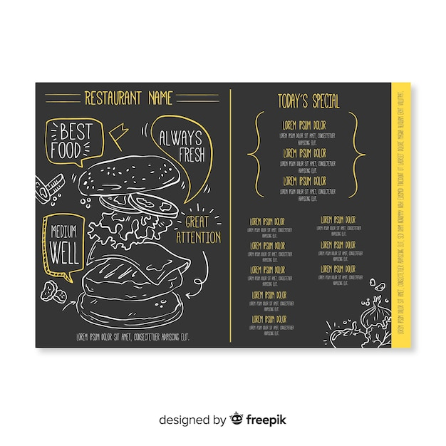 Hand drawn elegant restaurant menu template Free Vector