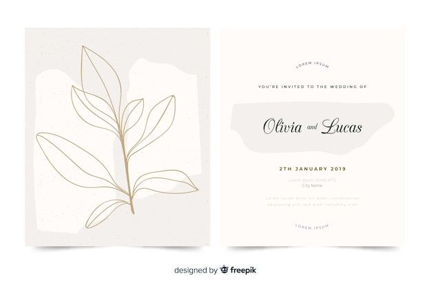 Hand drawn elegant wedding invitation template Vector | Free Download
