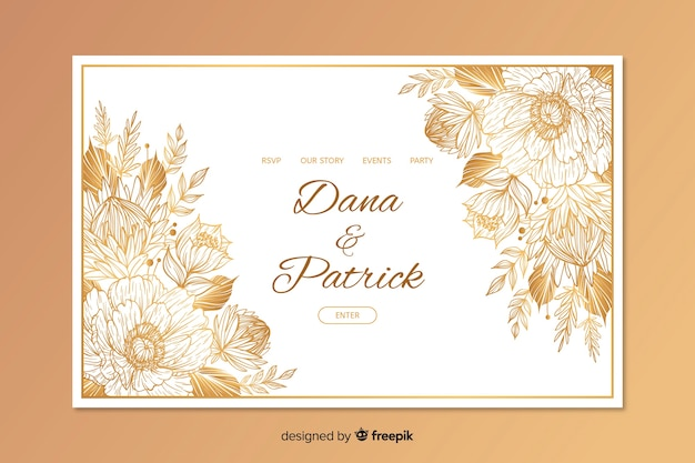 Hand drawn elegant wedding landing page template Free Vector