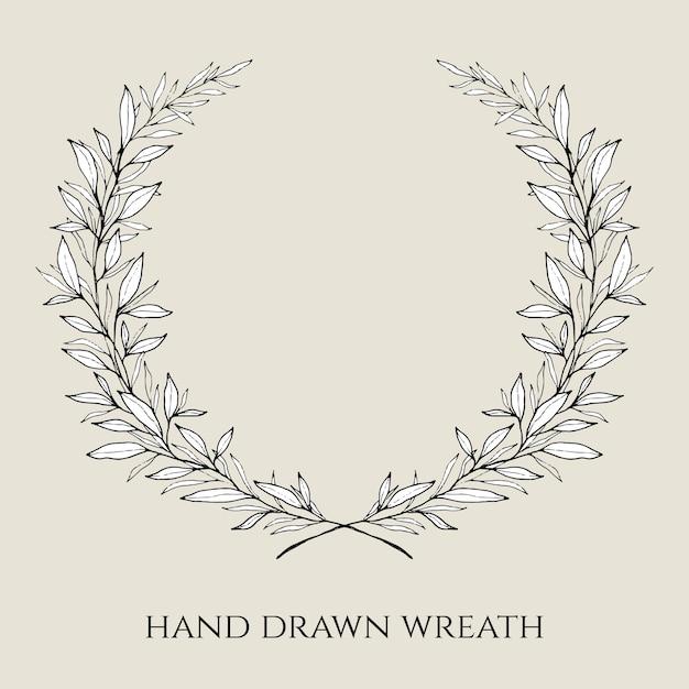 Hand drawn elegant wedding wreath Free Vector