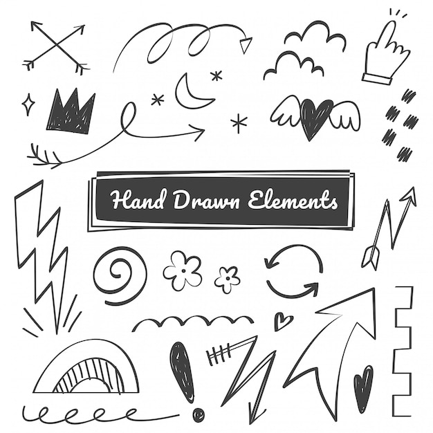 Hand drawn elements, arrow, swish, emphasis doodles Premium Vector
