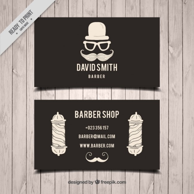 Hand drawn elements barber shop card in vintage style