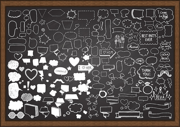 Hand drawn elements on chalkboard Free Vector