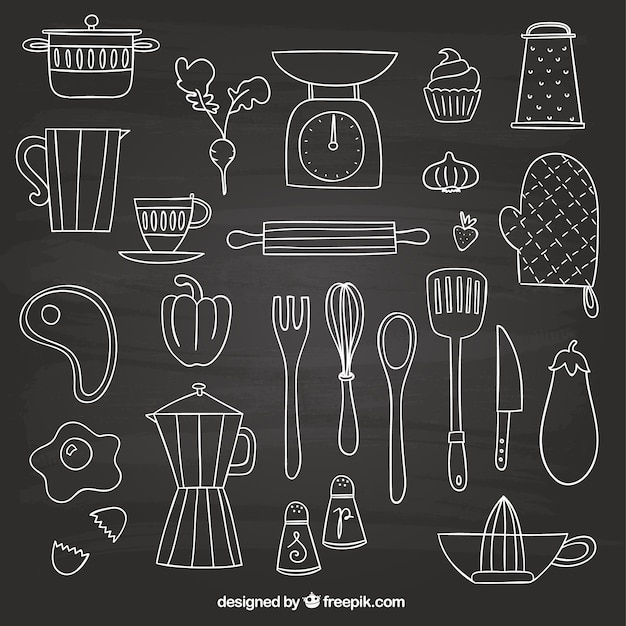 Hand drawn elements for cooking Premium Vector