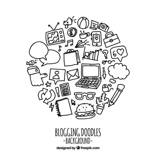 面白いブログの手描きの要素 無料ベクター