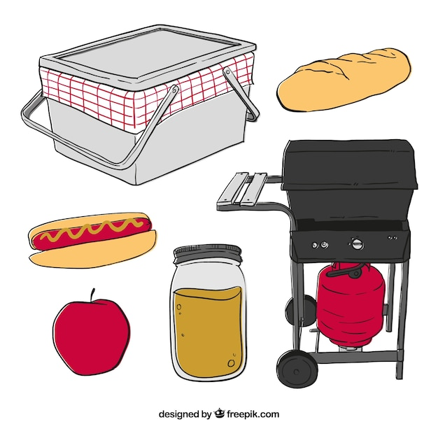 Hand drawn elements for picnic and bbq