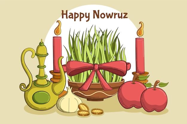 Hand drawn elements illustrations happy nowruz Free Vector