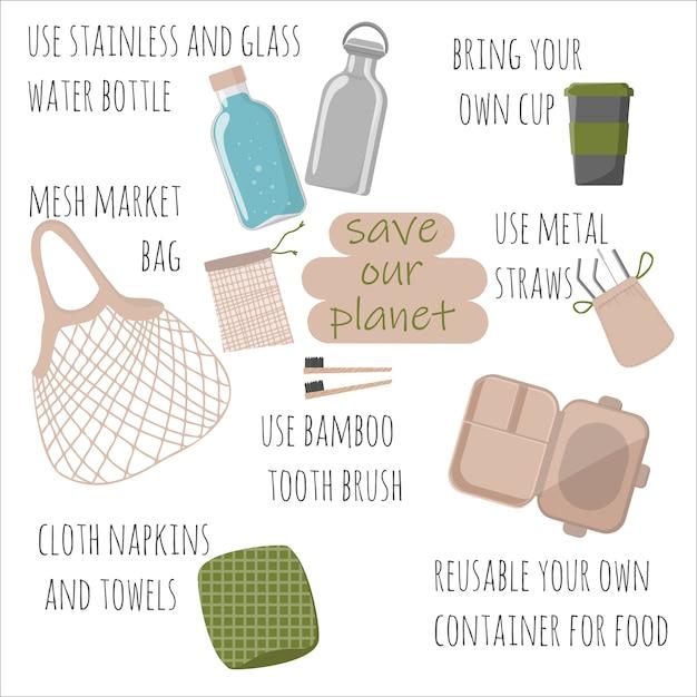 Hand drawn elements of no plastic, zero waste concept, eco lifestyle, go green theme Premium Vector