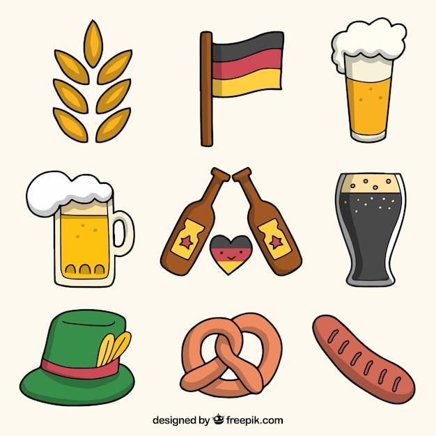 Hand drawn elements of german celebration