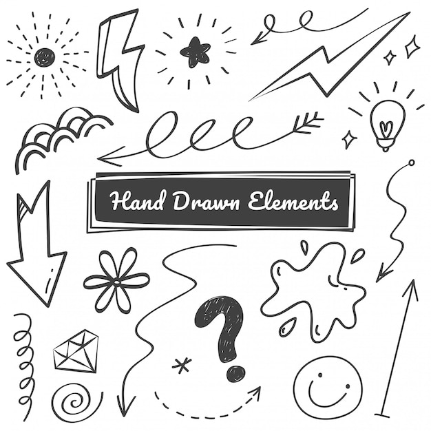 Hand drawn elements Premium Vector