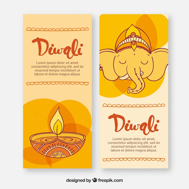 Hand drawn elephant and candle diwali banners Free Vector