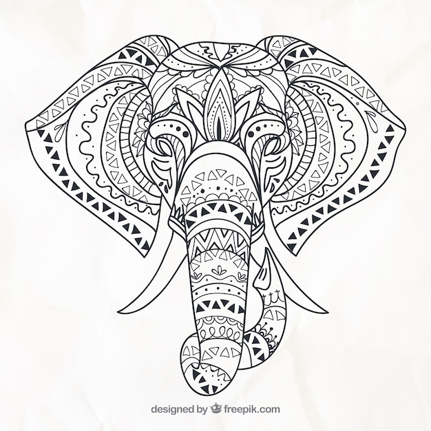 Hand drawn elephant in ethnic style Free Vector