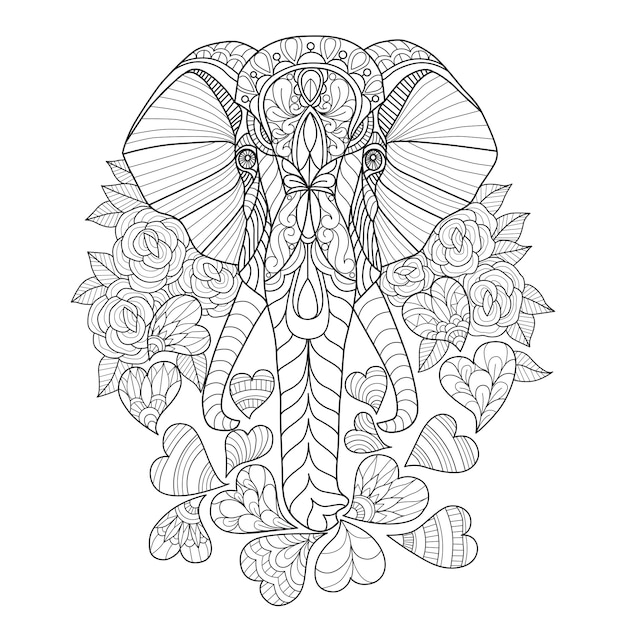 Hand drawn of elephant and heart Premium Vector