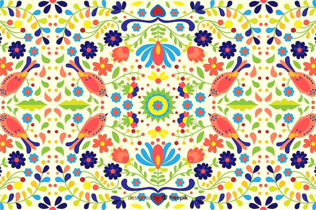 Hand drawn embroidery floral background Free Vector
