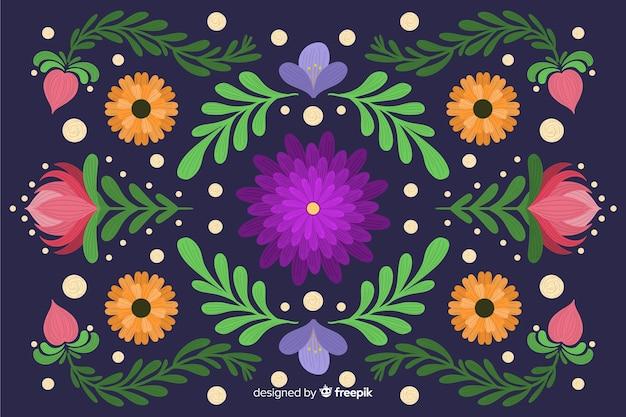 手描き刺繍花の背景 無料ベクター
