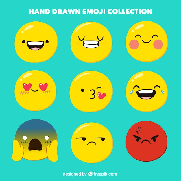 Hand-drawn emoji collection Free Vector