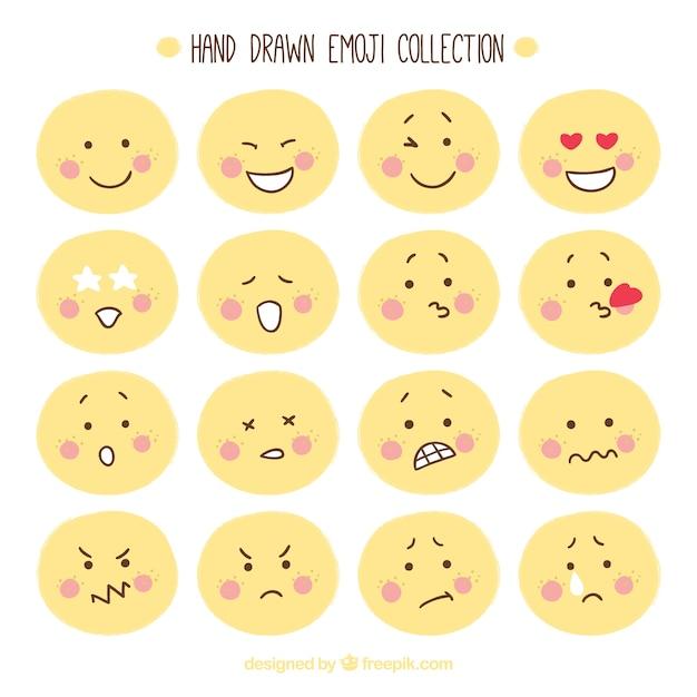 Hand-drawn emoticon collection Free Vector